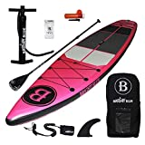 """BRIGHT BLUE Reinforced Double Layer 11'6"""" Inflatable Stand Up Paddle Board (6"""" Thick) with Pump, Paddle,Backpack, Fin,Leash"""