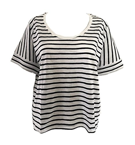 GAP Ladies Crew Neck Short Sleeve T-Shirt White Striped Size L - Gap White Tank Top
