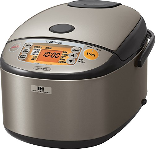 Zojirushi NP-HCC18XH Induction Heating System Rice Cooker and Warmer, 1.8 L, Stainless Dark Gray (Best Rice Cooker Brand)