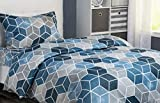 XLNT Premium 1 Set 3 Pc Duvet Set Luxury Ultra Soft Twin Size 39 inch Textured Geo Blue Designed Bed Sheets Cotton Blend, Machine Washable, Fade Resistant, Great for Kids or Guest Room