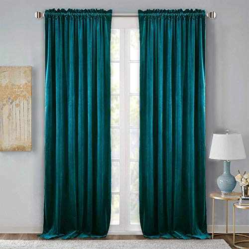 StangH Room Darkening Velvet Curtain Drapes - Heavy Duty Velvet Privacy Panels with Rod Pocket Heat & Chill Resistant for Slide Glass Door/Guest Room, Teal, 52 x 96-inch, 2 Pcs (Dark Curtain Panels Teal)