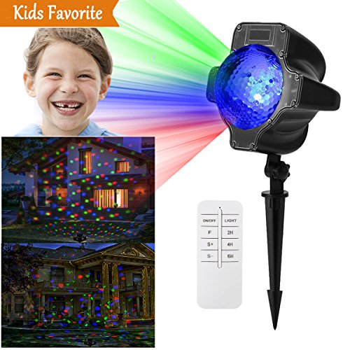 Christmas Light Projector, Rotating Sparkling Landscape Lamp with Wireless Remote Controller, 16.4ft Power Cable and RGB 7 Patterns for Xmas Halloween Party Disco Wedding Garden Birthday Decorations]()