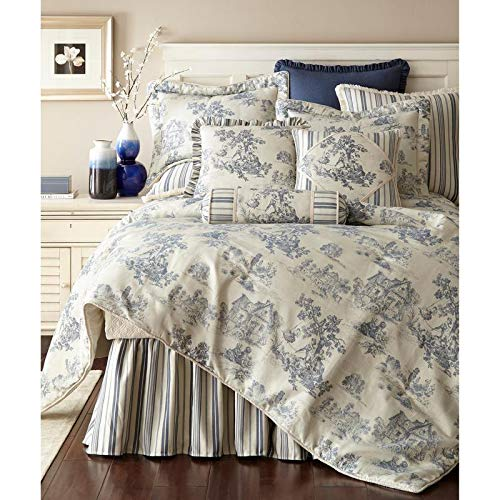 3 Piece Cosmopolitan Blue Off White California King Comforter Set, Toile Pattern Canvas Vintage Pictures Kids Playing Old School Trees Country Side House Swing All Over Printed Acrylic ()