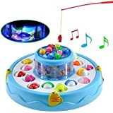 HONEY BOO 26 Pieces Fish, 2 Rotary Fishing Pond and 4 Pods Baby Fish Catching Game Includes Music and Lights Function (Assorted Colour)