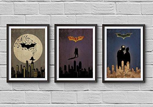 Batman Trilogy Minimalist Poster Set Batman Begins The Dark Knight The Dark Knight Rises Alternative Christopher Nolan Movie Illustration Cinema Home Decor Artwork Wall Art Hanging Cool Gift