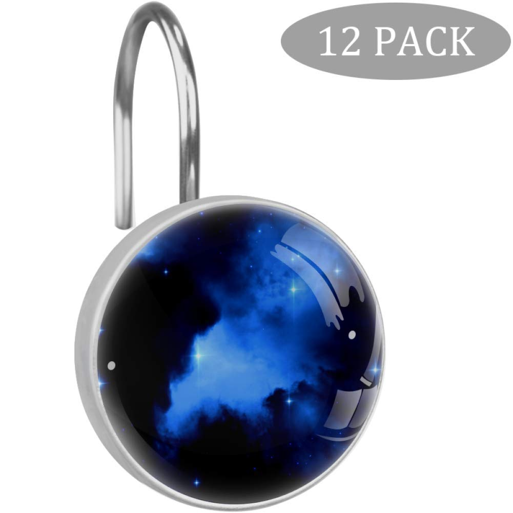 LORVIES Astronomy Space Constellation Shower Curtain Hooks Set of 12, Stainless Steel Shower Hooks Decorative Hanger Rings Rust Resistant for Bathroom Kids Room Fashion Home Decor