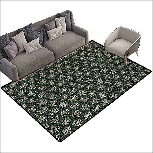 - Vintage Custom Pattern Floor mat Abstract Floral Motifs Mosaic Tile Pattern with Leaf Ornaments Old Fashioned 70