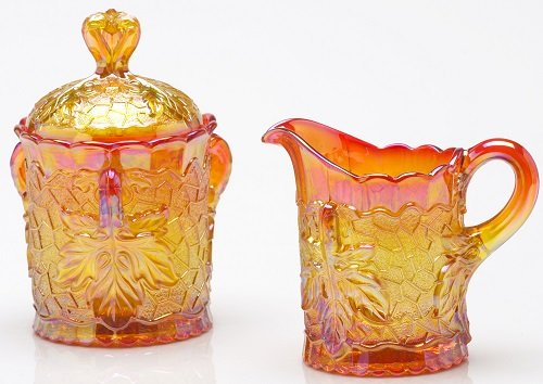 Creamer & Sugar Set - Maple Leaf Pattern Mosser Glass - Marigold Carnival (Glass Pattern Creamer)