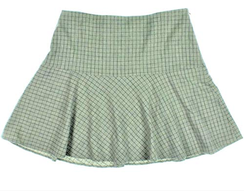 (Ralph Lauren $149 Womens Gray Wool Checked Fit & Flare Skirt Lined SZ 10 New with Tags)