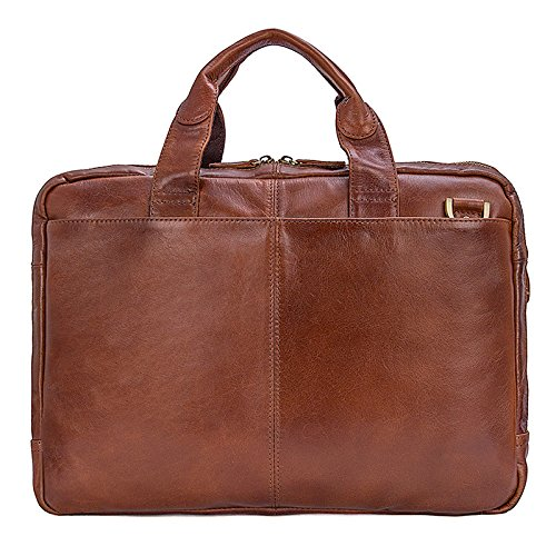 Bag Mens Leather Genuine Jsix Shoulder Laptop Brown Handbags Briefcases Uq0ZH64
