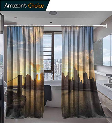 vanfanhome Home 2 Panels Window Sheer Curtains, Skyline and Brooklyn Bridge at Sunset New York Printing, Voile Panels for Bedroom Living Room, Rod Pocket Curtains, 52 x 72 Inch/Panel (Chambray Voile Rod Pocket)