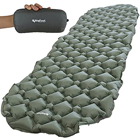 Bigfoot Outdoor Ultra-Compact Airlite Backpacking Air Mattress w/ Cell Technology - Super Comfortable - Perfect for Lightweight Backpacking - Free Repair Kit Included (Bigfoot Products)