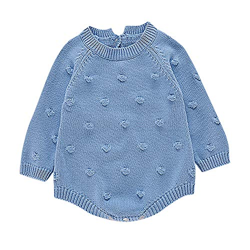 Baby Girls Sweater Romper Winter,Infant Newborn Baby Girl Dot Knit Bodysuit Crochet Clothes Outfits