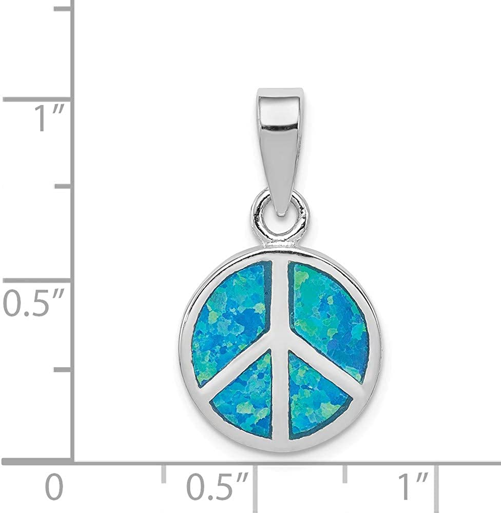 925 Sterling Silver Blue Inlay Created Opal Peace Sign Pendant Charm Necklace Fine Jewelry For Women Gifts For Her