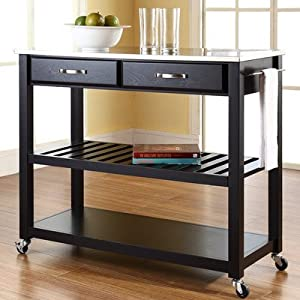 Kitchen Cart Stainless Steel Top Island Butcher Block Rolling Wheels  Microwave Appliance Utility Vehicle