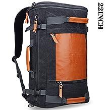 Men's Retro Canvas Travel Rucksack Backpack Witzman Duffel Casual Daypack 2063 (big size black, 21Inch)