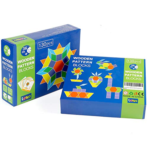 Lewo 130 PCS Wooden Pattern Blocks Geometric Shape Puzzles Classic Educational Toys Tangrams Set for Kids with 24 Design Cards