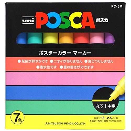 Places Springs Coral (Uni Posca Paint Marker Pen, Medium Point, Set of 7 Natural Color (PC-5M 7C))
