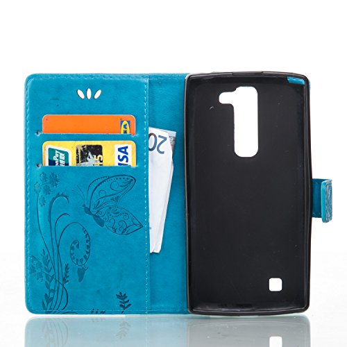 Funda LG G4c/LG G4 mini OuDu Carcasa de Billetera Funda PU Cuero Carcasa Suave Protectora con Correas de Teléfono Funda Arbol Flip Wallet Case Cover Bumper Carcasa Flexible Ligero Ultra Delgado Caja A Azul