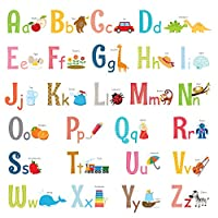 DECOWALL Uppercase Alphabet ABC with Pictures Kids Wall Decals Wall Stickers Peel and Stick Removable Wall Stickers for Kids Nursery Bedroom Living Room(1701/S 8023)
