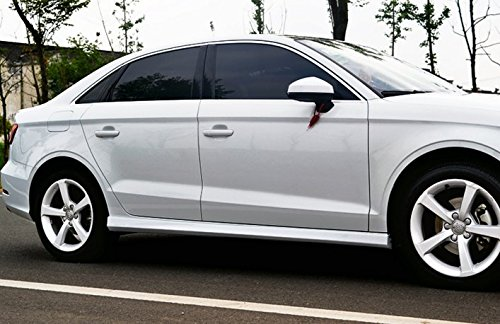 Eppar New Side Skirts Offer Painted Service for Audi A3 2013-2016 Sedan (Glacier White Pearl Tricoat Color Code: LS9R/2Y) by Eppar