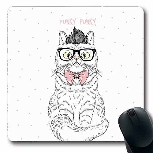 Ahawoso Mousepad Oblong 7.9x9.8 Inches Cool Funky Geek Cat Graphic Adorable Drawn Fancy Glasses Hand Design Nerd Office Computer Laptop Notebook Mouse Pad,Non-Slip Rubber]()