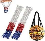 2 pcs Basketball Net, 1pcs Basketball Mesh Net Bag for Indoor and Outdoor Sports