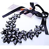 Black - Elegant Crystal Flower Ribbon Chain Necklace Women Bib Statement Collar Chunky