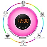 Aipker Wake Up Light, Sunrise Alarm Clock with FM Radio Snooze Function 7 Colors LED Bedside Lamp Night Light Nature Sounds for Heavy Sleeper Children Kids