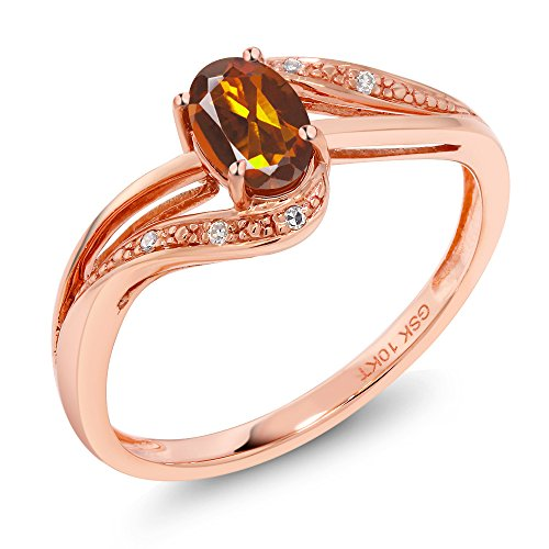 - 10K Rose Gold 0.44 Ct Orange Red Madeira Citrine and Diamond Engagement Ring (Size 5)