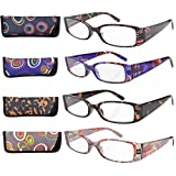 Eyekepper 4-Pack Beautiful Colors Spring Hinge Rectangular Reading Glasses +1.50