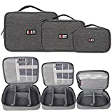BUBM 3Pcs Electronic Travel Organizer, Portable Gadget Carrying Bag Gear Storage Organizer for Cables, USB Flash Drive, Battery, Adapter and More, Roomy and Compact,Denim Gray