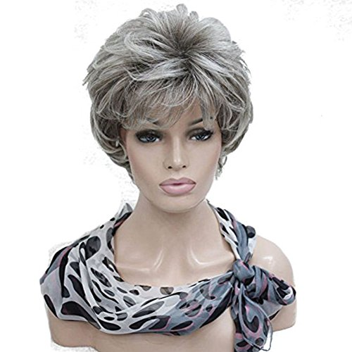 Old Woman Costume Hair (Women's Short Curly Wavy Wig Golden Blonde mix blonde Synthetic Hair Full Wig #48T Light Gray with Dark Root)