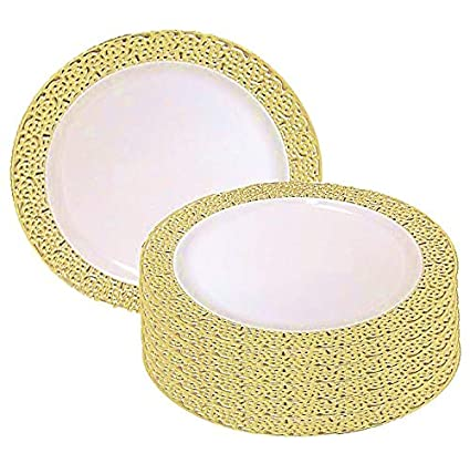Amazon.com: 7.5 Inch Plastic Plates Trimmed With Gold Lace. Pack Of ...