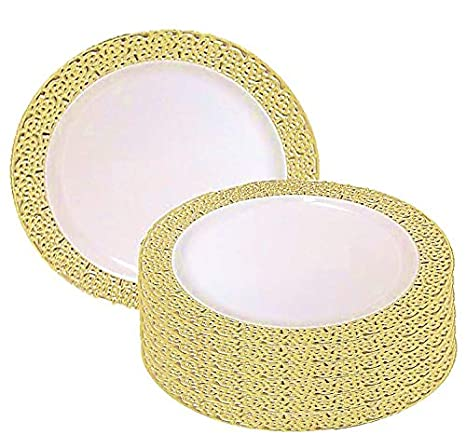 christmas 10 inch plastic plates trimmed with gold lace pack of 40 elegant disposable china - Christmas Plastic Plates