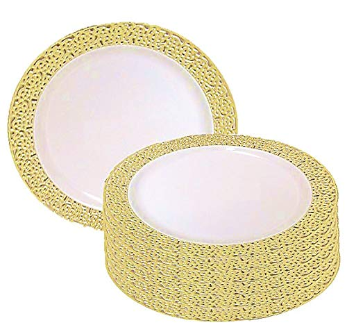 Christmas 10 Inch Plastic Plates Trimmed With Gold Lace. Pack Of 40 Elegant Disposable China Like Dinnerware. 10