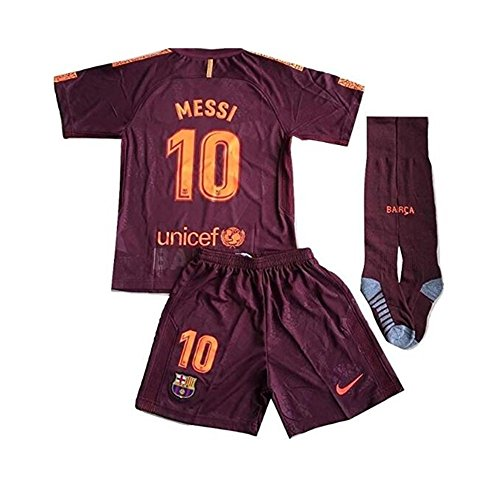 Fuwuzhan Messi #10 FC Barcelona 3rd Champions League Jersey Shorts with Socks for Kids/Youth (11-13 Years) - Champions Barcelona League Fc