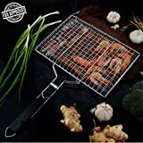 Barbecue Grilling Basket, Outdoor Portable Folding 430 Stainless Steel BBQ Barbecue Grill Basket Pan for Fish, Vegetable, Beef Steaks, Shrimp with Removable Detachable Wooden Handle, Include Carry Bag