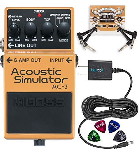 BOSS AC-3 Acoustic Simulator Pedal for Electric Guitars Bundle with Blucoil 9V DC Power Supply with Short Circuit Protection, 2-Pack of Pedal Patch Cables and 4-Pack of Celluloid Guitar Picks