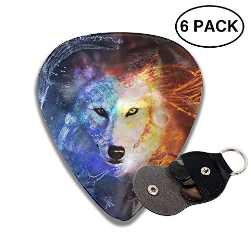 - Ice Fire Wolf 351 Shape Celluloid Guitar Picks Plectrums 6 Pack Unique Designs -0.46 MM,0.71 MM,0.96 MM