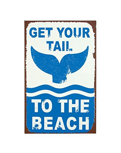 Timeless By Design Get Your Tail To The Beach Tin Metal Sign, 10 x 16.5 Inches