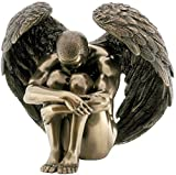 "Custom & Unique {5.9'' Inch} 1 Single, Home & Garden ""Standing"" Figurine Decoration Made of Genuine Bronze w/ Classic Metallic Historical Curled Up Fallen Male Angel Style {Black & Bronze}"