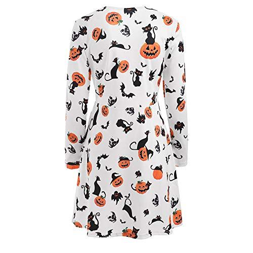 Corps Longues neck Blanc Angelof Manches Mode Party Robe Du Imprimé Près Citrouille Halloween O Costume Coupe Decoration Imprimer Femme RO4UgRq0