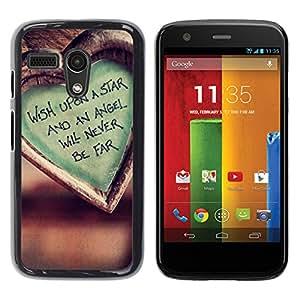 Deseo sobre una estrella fugaz - Metal de aluminio y de plástico duro Caja del teléfono - Negro - Motorola Moto G 1 1ST Gen