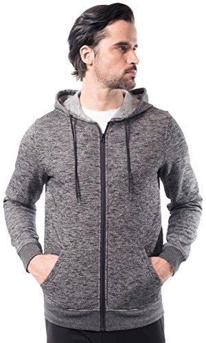en's Fleece Hoodie Full Zip Active Hooded Sweatshirt, Black Streaky Slub, Large (Hood Sweater Jacket)