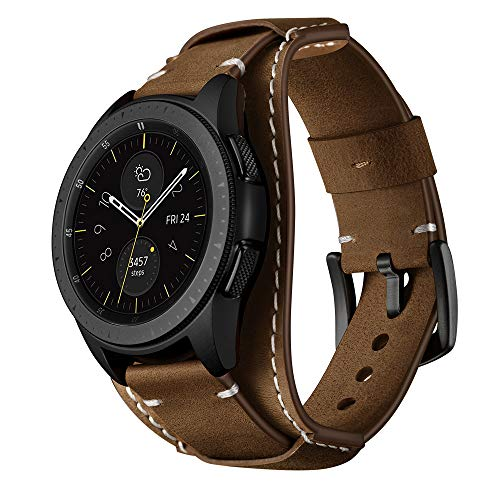Balerion Cuff Genuine Leather Watch Band,Compatible with Galaxy Watch 42mm,Gear Sport,Gear S2 Classic,Fssil Q Control and Other Standard 20mm Band Width Watch,Coffee