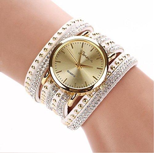 Ledhill Geneva Crystal Rivet Wrap Bracelet Wrist Watch (White) (Leather Band Round Photo Watch)