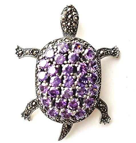 Amethyst Turtle Pendant Exquisite Stones & Marcasite .925 Sterling Silver ВК-150 ()