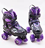 Kids Adjustable 4 Wheel Quad Roller Skates Boots Childrens Rollers (Purple, Small /UK 11 - 1)