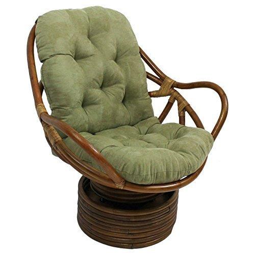 International Caravan Furniture Piece Rattan Swivel Rocker with Micro Suede Cushion